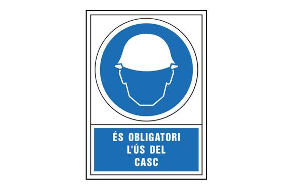 SEÑAL OBLIGACION CATALAN 490X345 MM-OBLIGATORI L\'US DEL CASC