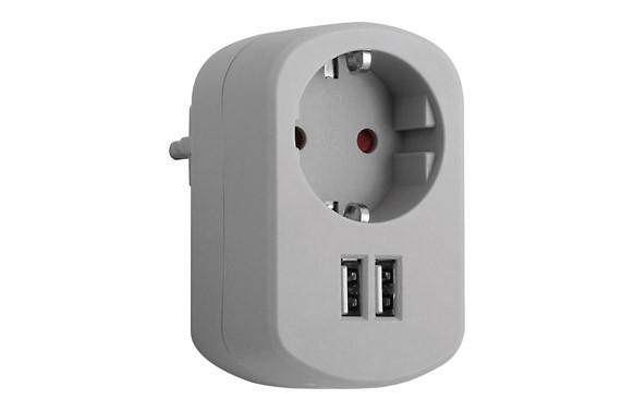 ADAPTADOR CON DOBLE USB GRIS CENIZA