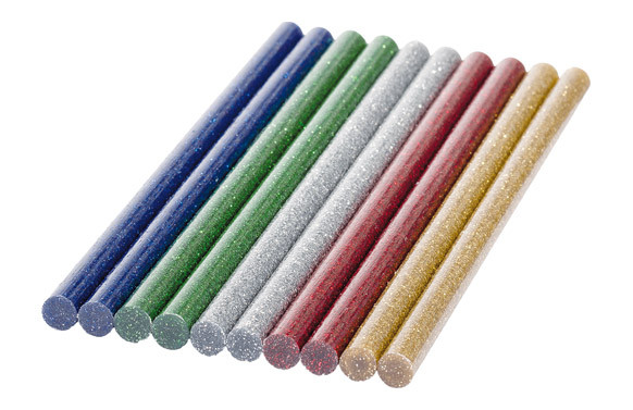ADHESIVO TERMOFUSIBLE BARRA 10 UNI Ø7 MM SURTIDAS COLORES PURPURINA
