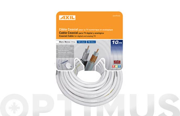 CABLE COAXIAL TV 19VAT-BLANCO 5 M