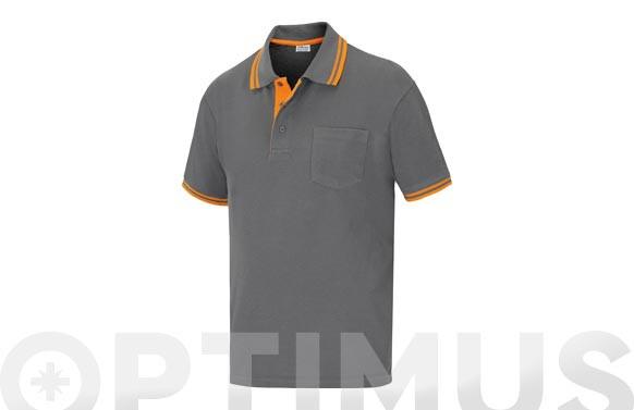 POLO PIQUE M/CORTA ELITE STRETCH GRIS TM
