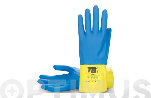 GUANTE LATEX NATURAL BICOLOR AZUL/AMARILLO FLOCADO T 9/XL LONGITUD: 30 CM, GROSOR: 0,60 MM