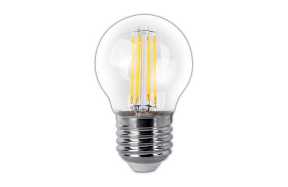 LAMPARA ESFERICA LED CLARA FILAMENTO E27 4 W LUZ CALIDA