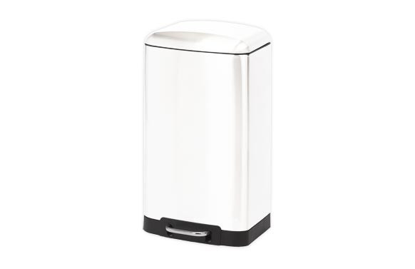 CUBO PEDAL RECTANGULAR METALICO30 L BLANCO