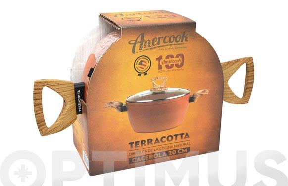 CAZUELA ALTA CON TAPA ALUMINIO FORJADO TERRACOTTA 20 CM  INDUCCION