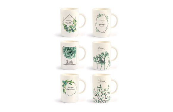MUG NEW BONE CHINA HOJAS 40 CL - SURTIDO