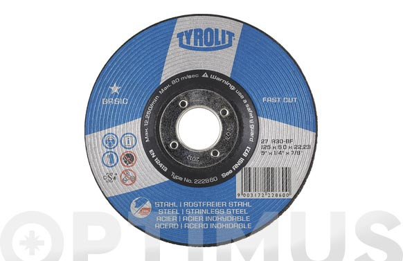 DISCO DESBASTE ACERO/INOX BASIC230 X 6 X 22