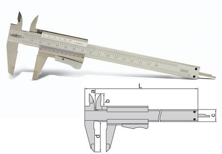 Pie de rey analógico con boton pulsador de insize 1223