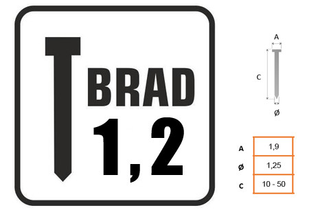 Brads con cabeza 1,2mm para clavadora 8751