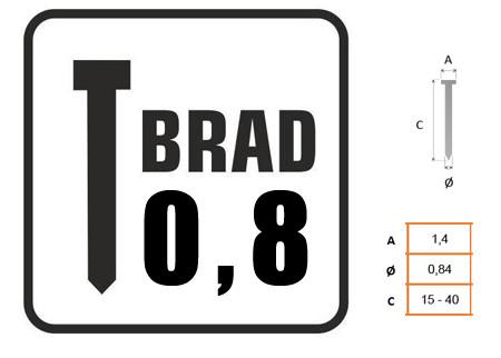 Clavos con cabeza Brad 0,8mm 8721 disponible en varias longitudes, paquetes de 10 millares