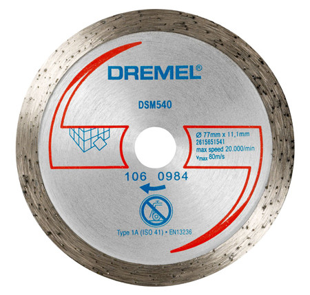 Disco de diamante para azulejos dremel dsm540 ref:2.615.S54.0JA
