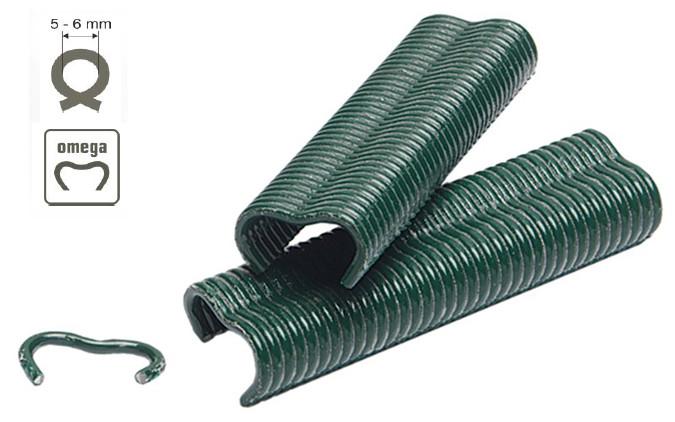 Grapas omega para montar vallas en color verde clavex 7673