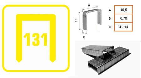 Grapas Claves tipo 131 para grapadora manual. Todos los tamaños disponibles