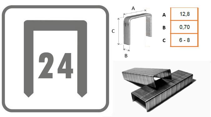 Grapas para grapadora de oficina tipo tenaza - Grapa 24