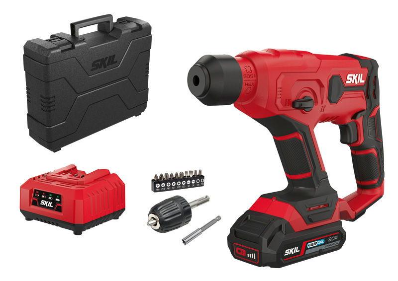 Martillo batería Skil 3810 GA con puntas para atornillador, batería y maletín de transporte