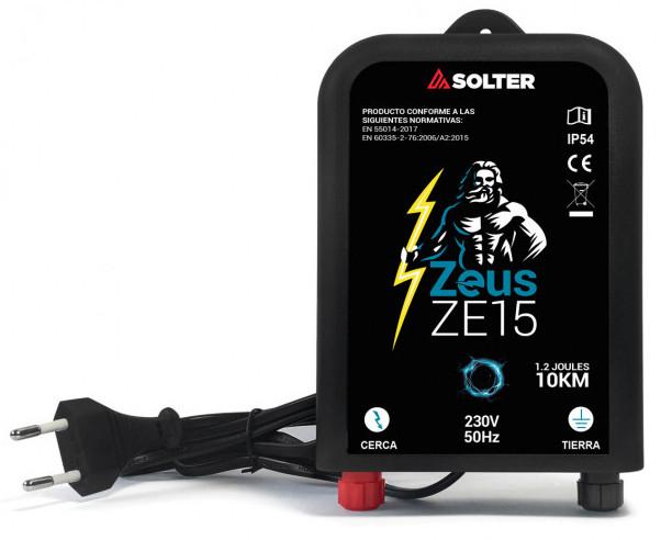 Pastor eléctrico de Solter Zeus ZE15 para cercas de hasta 10 km