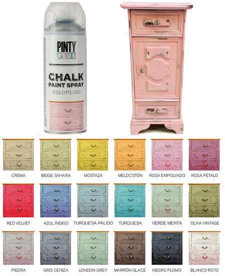 Pintura efecto vintage a la tiza con spray chalk al agua
