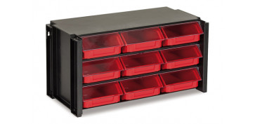 Portaherramientas - CLASIFICADOR APILABLE PLASTICO 9 GAVETAS NEGRO/ROJO 170X360X190 MM