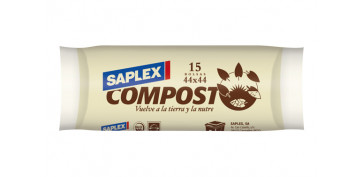 BOLSA BASURA R.15 44X44 BIODEGRADABLE COMPOST SAPLEX