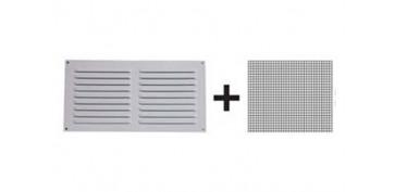Ventiladores y extractores - REJILLA SIN BORDE BLANCA CON MOSQUITERA 0110/25X25