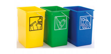 Reciclaje - CUBETA RECICLAR 20X28X34 C/ASA 15L-VERDE