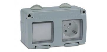 Material instalacion electrico - BASE ENCHUFE+CONMUTADOR ESTANCO 16A