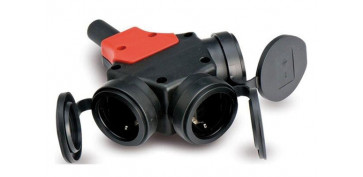 Material instalacion electrico - ADAPTADOR TRIPLE TT 16A GOMA IP44