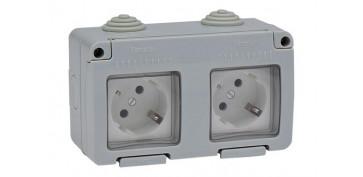 Material instalacion electrico - BASE DOBLE TT LATERAL ESTANCO 16A