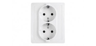 DOBLE BASE ENCHUFE CON TT BLANCO SERIE 15