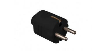 Material instalacion electrico - CLAVIJA CON SALIDA RECTA Y TT LATERAL250V NEGRO