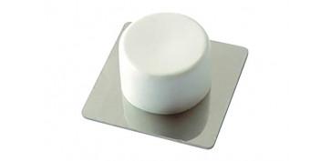 Topes y perchas adhesivas - TOPE DE PUERTA ADHESIVO ACERO INOX/PVC BLANCO 2 UDS