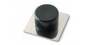 Topes y perchas adhesivas - TOPE DE PUERTA ADHESIVOACERO INOX/PVC NEGRO 2 UDS