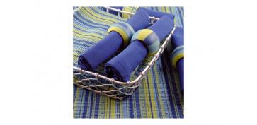 Textil y costura - SERVICIO COCINA AZUL 6 PERSONAS INDIVIDUAL + SERVILLETA + SERVILLETERO