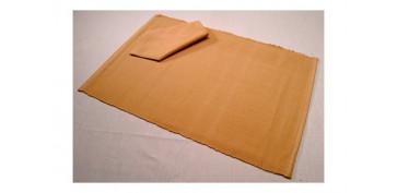 Textil y costura - MANTEL INDIVIDUAL + SERVILLETA BEIGE OSCURO SET DE 4 JUEGOS