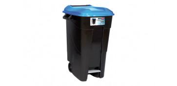 Reciclaje - CONTENEDOR NEGRO CON PEDAL 120L-TAPA AZUL