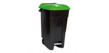 Reciclaje - CONTENEDOR NEGRO CON PEDAL 120L-TAPA VERDE