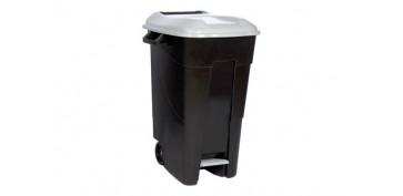 Reciclaje - CONTENEDOR NEGRO CON PEDAL 120L-TAPA GRIS