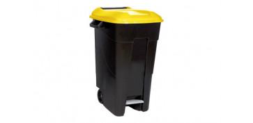 Reciclaje - CONTENEDOR NEGRO CON PEDAL 120L-TAPA AMARILLA
