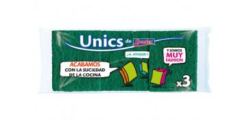 Utiles de limpieza - ESTROPAJOS FIBRA VERDE UNIKS PACK 3