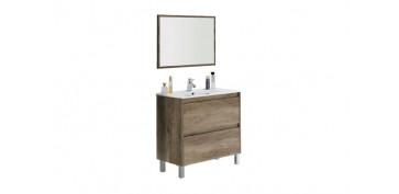 Mobiliario de baño - MUEBLE BAÑO + ESPEJO DAKOTA ROBLE