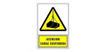 SEÑAL ADVERTENCIA CASTELLANO 345X245 MM-ATENCION CARGA SUSPENDIDA