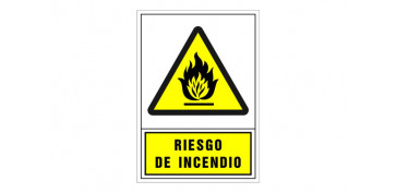 SEÑAL ADVERTENCIA CASTELLANO 345X245 MM-RIESGO DE INCENDIO