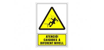 SEÑAL ADVERTENCIA CATALAN 345X245 MM-ATENCIO CAIGUDES A DIFERENT NIVELL