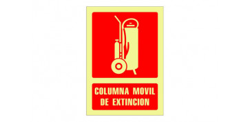 SEÑAL FOTOLUMINISCENTE CONTRA INCENDIO CASTELLANO 297X210 MM-COLUMNA MOVIL EXTINCION