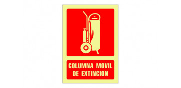SEÑAL FOTOLUMINISCENTE CONTRA INCENDIO CASTELLANO 420X297 MM-COLUMNA MOVIL EXTINCION