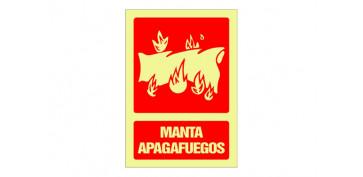 Señalizacion - SEÑAL FOTOLUMINISCENTE CONTRA INCENDIO CASTELLANO 420X297 MM-MANTA APAGAFUEGOS