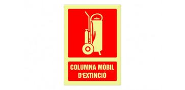 Señalizacion - SEÑAL FOTOLUMINISCENTE CONTRA INCENDIO CATALAN 297X210 MM-COLUMNA MOBIL D\'EXTINCIO
