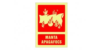 Señalizacion - SEÑAL FOTOLUMINISCENTE CONTRA INCENDIO CATALAN 420X297 MM-MANTA APAGAFOCS