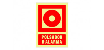 SEÑAL FOTOLUMINISCENTE CONTRA INCENDIO CATALAN 420X297 MM-POLSADOR D\'ALARMA