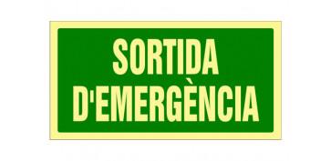 SEÑAL FOTOLUMINISCENTE EVACUACION CATALAN 297X148 MM-SORTIDA EMERGENCIA